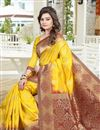 image of Party Wear Designer Yellow Color Saree In Banglori Silk Jacquard Fabric