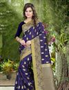 image of South Indian Style Banglori Silk Jacquard Designer Saree In Navy Blue Color