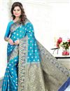 image of Blue Color Banglori Silk Jacquard Festive Wear Designer Saree With Blouse