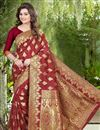 image of Banglori Silk Jacquard Party Wear Designer Saree In Red Color