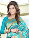 photo of Cyan Color South Indian Style Banglori Silk Jacquard Fabric Designer Saree