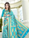 image of Cyan Color South Indian Style Banglori Silk Jacquard Fabric Designer Saree