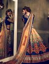 photo of Cream-Blue Color Bangalori Silk Printed Lehenga Choli for Festival