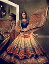 image of Cream-Blue Color Bangalori Silk Printed Lehenga Choli for Festival