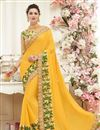 image of Yellow Color Beautifully Embroidered Stylish Chiffon Designer Saree