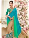 image of Cyan And Beige Color Festive Wear Saree In Chiffon And Georgette Fabric With Embroidery Work