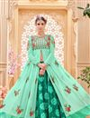 image of Designer Banglori Silk Fabric Party Wear Sea Green Color Sharara Top Lehenga