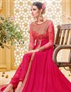 photo of Marvelously Embroidered Party Wear Pink Color Designer Salwar Kameez In Banglori Silk And Georgette Fabric