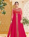image of Marvelously Embroidered Party Wear Pink Color Designer Salwar Kameez In Banglori Silk And Georgette Fabric
