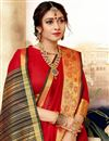 photo of Function Wear Red Traditional Saree With Zari Woven Border In Art Silk