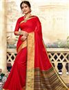 image of Function Wear Red Traditional Saree With Zari Woven Border In Art Silk