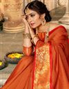 photo of Traditional Rust Color Fancy Saree With Zari Woven Border In Art Silk