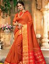 image of Traditional Rust Color Fancy Saree With Zari Woven Border In Art Silk