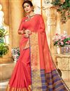 image of Salmon Function Wear Art Silk Designer Saree With Zari Woven Border