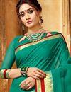 photo of Art Silk Function Wear Traditional Saree With Zari Woven Border In Dark Cyan