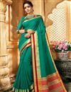 image of Art Silk Function Wear Traditional Saree With Zari Woven Border In Dark Cyan