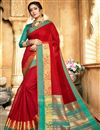 image of Traditional Maroon Designer Saree With Zari Woven Border In Art Silk