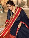 photo of Art Silk Function Wear Traditional Saree With Zari Woven Border In Black