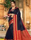 image of Art Silk Function Wear Traditional Saree With Zari Woven Border In Black