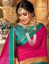 photo of Traditional Rani Color Designer Saree With Zari Woven Border In Art Silk