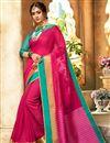 image of Traditional Rani Color Designer Saree With Zari Woven Border In Art Silk