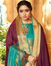 photo of Traditional Wine Art Silk Fancy Saree With Zari Woven Border