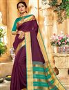 image of Traditional Wine Art Silk Fancy Saree With Zari Woven Border