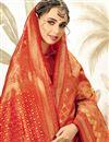 photo of Art Silk Fabric Rust Designer Reception Wear Saree With Weaving Work