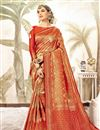 image of Art Silk Fabric Rust Designer Reception Wear Saree With Weaving Work