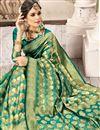 photo of Art Silk Fabric Teal Weaving Work Party Wear Designer Saree