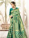 image of Art Silk Fabric Teal Weaving Work Party Wear Designer Saree