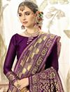 photo of Weaving Work Purple Fancy Saree In Art Silk Fabric