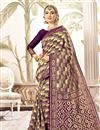 image of Weaving Work Purple Fancy Saree In Art Silk Fabric