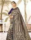 image of Navy Blue Art Silk Festive Wear Weaving Work Saree