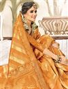 photo of Fancy Orange Art Silk Function Wear Weaving Work Saree