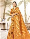 image of Fancy Orange Art Silk Function Wear Weaving Work Saree