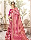 image of Art Silk Pink Fancy Weaving Work Saree With Blouse