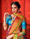 photo of Weaving Work Designs Pink Color Art Silk Fabric Party Wear Saree