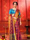 image of Weaving Work Designs Pink Color Art Silk Fabric Party Wear Saree