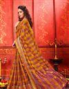 photo of Weaving Work Orange Color Art Silk Fabric Function Wear Saree