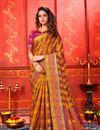 image of Weaving Work Orange Color Art Silk Fabric Function Wear Saree