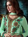 photo of Attractive Green Color Designer Salwar Kameez In Georgette And Banglori Silk Fabric