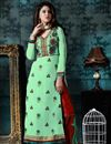 image of Attractive Green Color Designer Salwar Kameez In Georgette And Banglori Silk Fabric