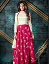 image of Enigmatic Pink And White Color Party Wear Anarkali Salwar Kameez In Banglori Silk Fabric