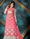 image of Enigmatic Peach And White Color Party Wear Anarkali Salwar Kameez In Georgette And Banglori Silk Fabric