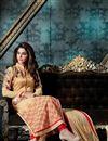 photo of Beige Color Party Wear Designer Salwar Kameez In Georgette And Banglori Silk Fabric