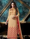 image of Beige Color Party Wear Designer Salwar Kameez In Georgette And Banglori Silk Fabric