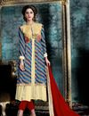 image of Enigmatic Cream And Blue Color Party Wear Straight Cut Salwar Kameez In Georgette And Banglori Silk Fabric