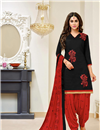 image of Designer Cotton Fabric Fancy Casual Wear Patiala Suit In Black
