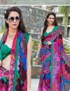 image of Brilliant Multi Color Party Wear Printed Georgette Saree